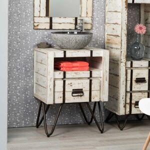 Wanda Collection Meuble de salle de bain en mindi 60 cm LOFT blanc - Publicité
