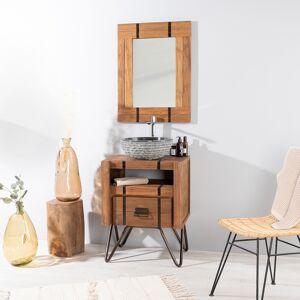 Wanda Collection Meuble de salle de bain en mindi naturel et métal 60 LOFT - Publicité