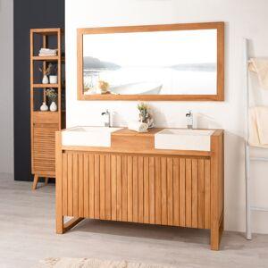 Wanda Collection Meuble en teck et vasques de salle de bain LUXE 140 crème - Publicité