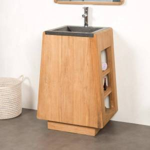Wanda Collection Meuble salle de bain en teck avec vasque intégrée TIPI 65 cm - Publicité