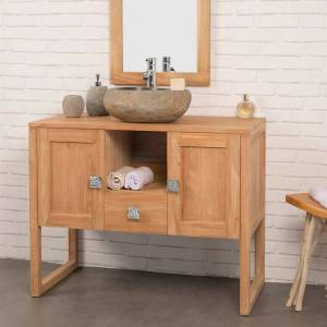 Wanda Collection Meuble salle de bain en teck massif THEA 100 cm - Publicité