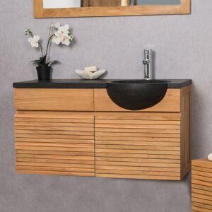 Wanda Collection Meuble salle de bain suspendu avec vasque teck 100 CONTEMPORAIN noir - Publicité