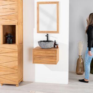 Wanda Collection Meuble salle de bain suspendu en teck cosy 50cm - Publicité