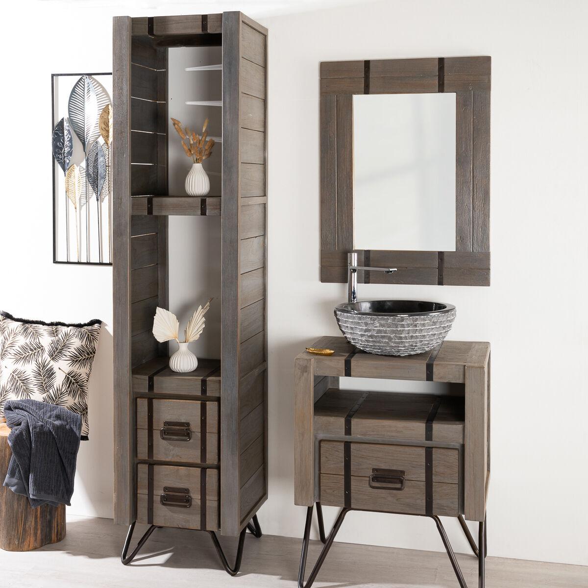 Wanda Collection Colonne de salle de bain LOFT en bois et métal 190 cm gris