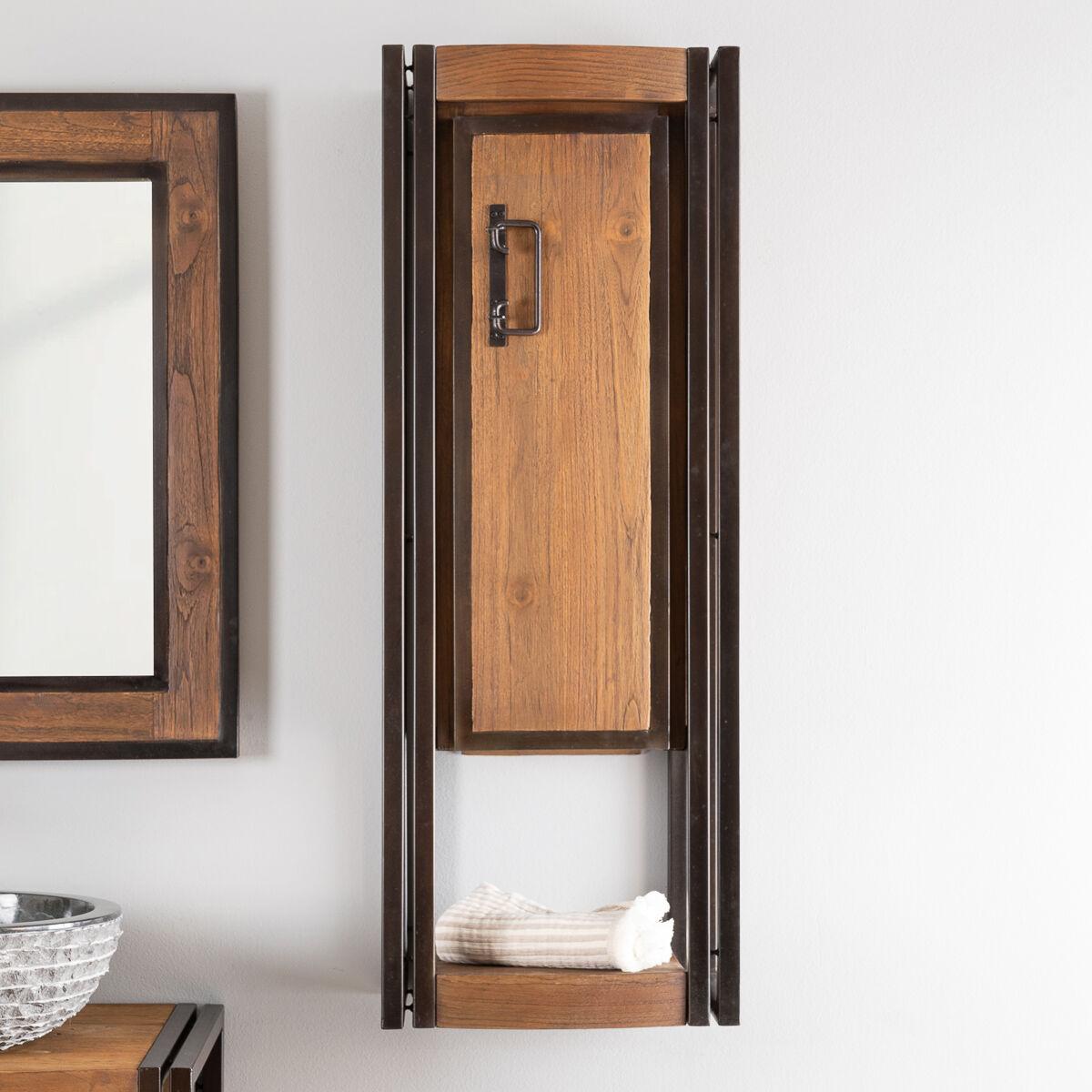 Wanda Collection Colonne de salle de bain suspendue Elégance teck métal 110 cm