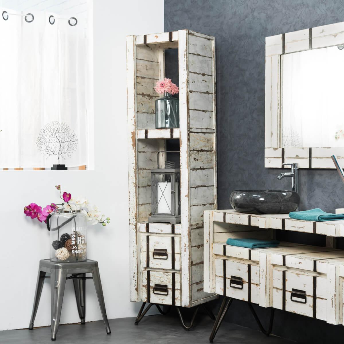 Wanda Collection Colonne en Mindi de salle de bain LOFT 190 blanc