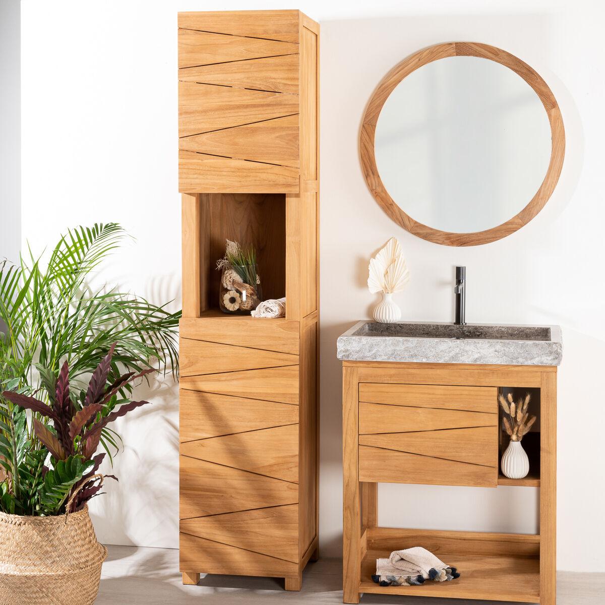 Wanda Collection Colonne salle de bain en teck massif Harmonie 190cm