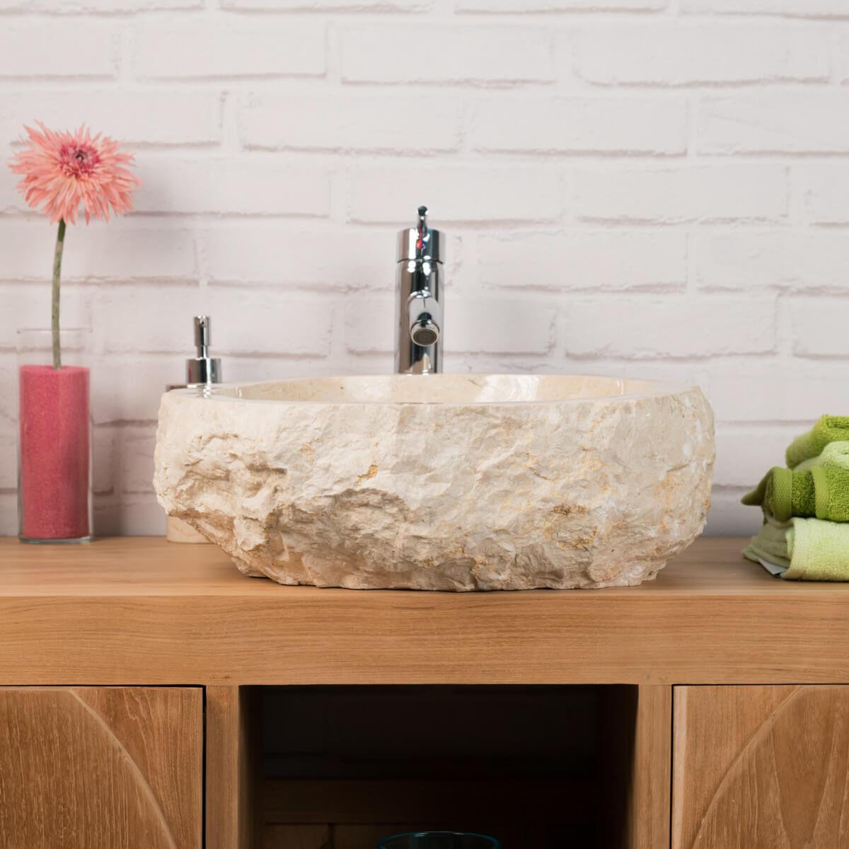 Wanda Collection Grande Vasque de salle de bain à poser ROC en marbre crème
