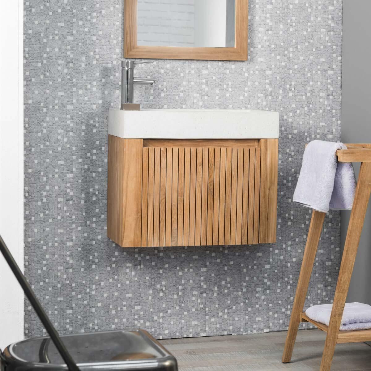 Wanda Collection Lave main et meuble suspendu en teck LUXE 60 crème
