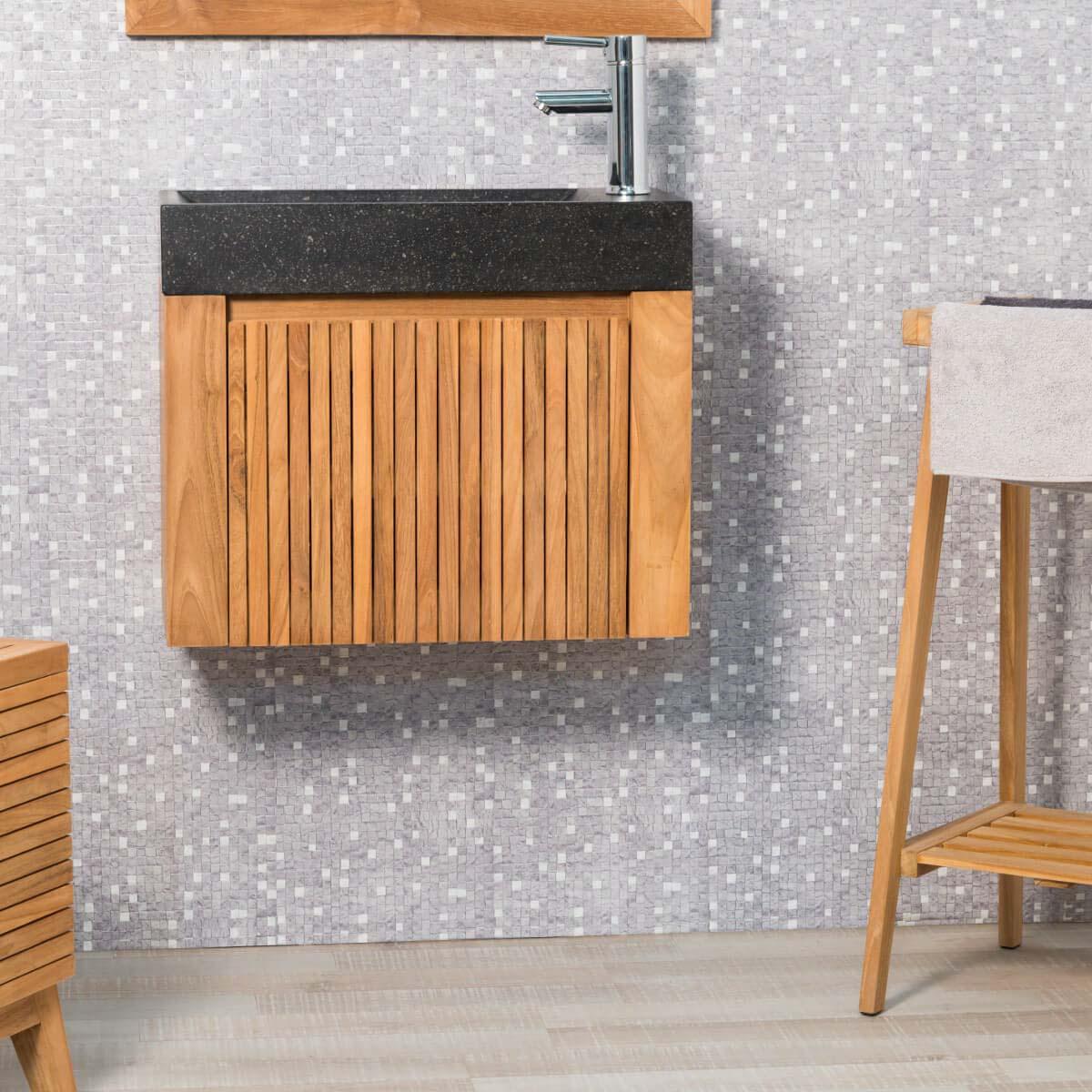 Wanda Collection Lave main et meuble suspendu en teck Luxe 60 noir