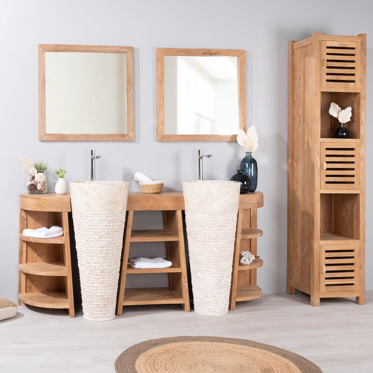 Wanda Collection Meuble de salle de bain en teck Florence double 180cm + vasques crème
