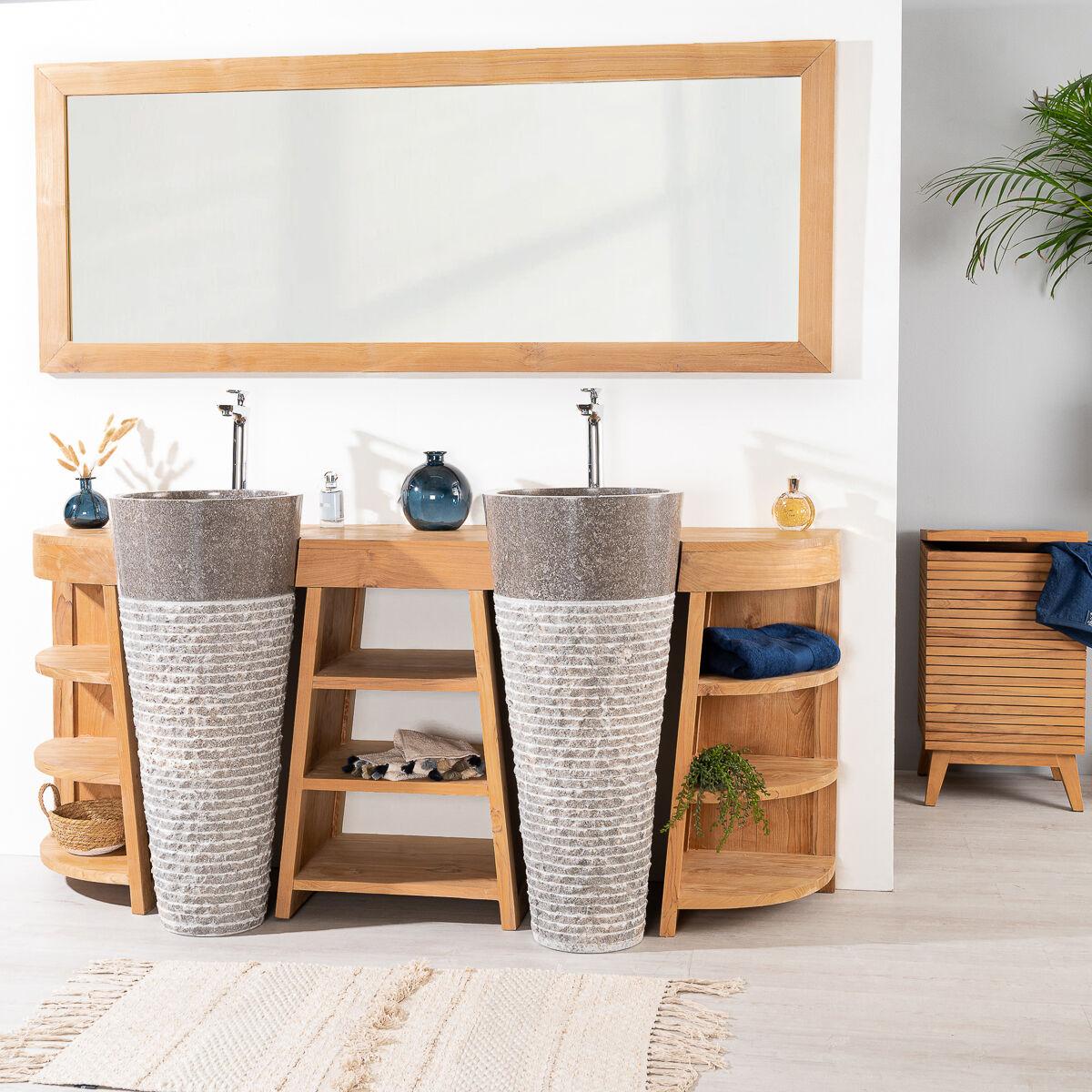 Wanda Collection Meuble de salle de bain en teck Florence double 180cm + vasques gris