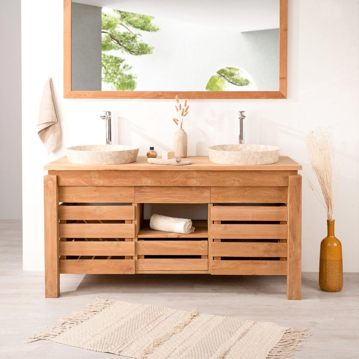 Wanda Collection Meuble de salle de bain en teck ZEN double vasque 145cm