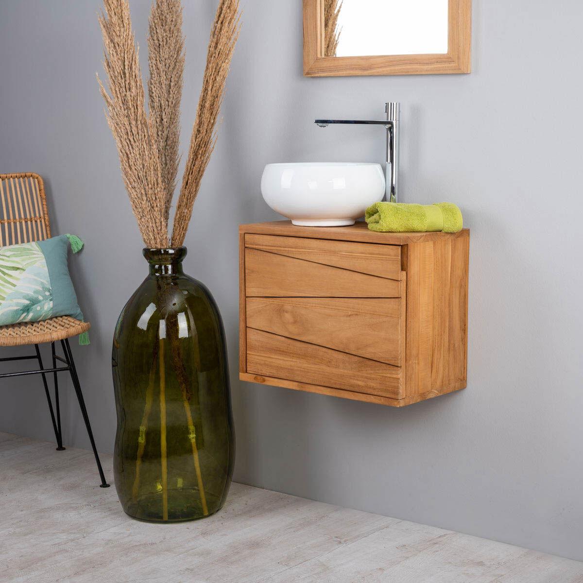Wanda Collection Meuble de salle de bain suspendu en teck cosy 40cm