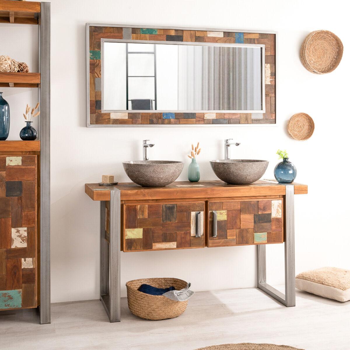 Wanda Collection Meuble double de salle de bain Factory teck métal 140 cm