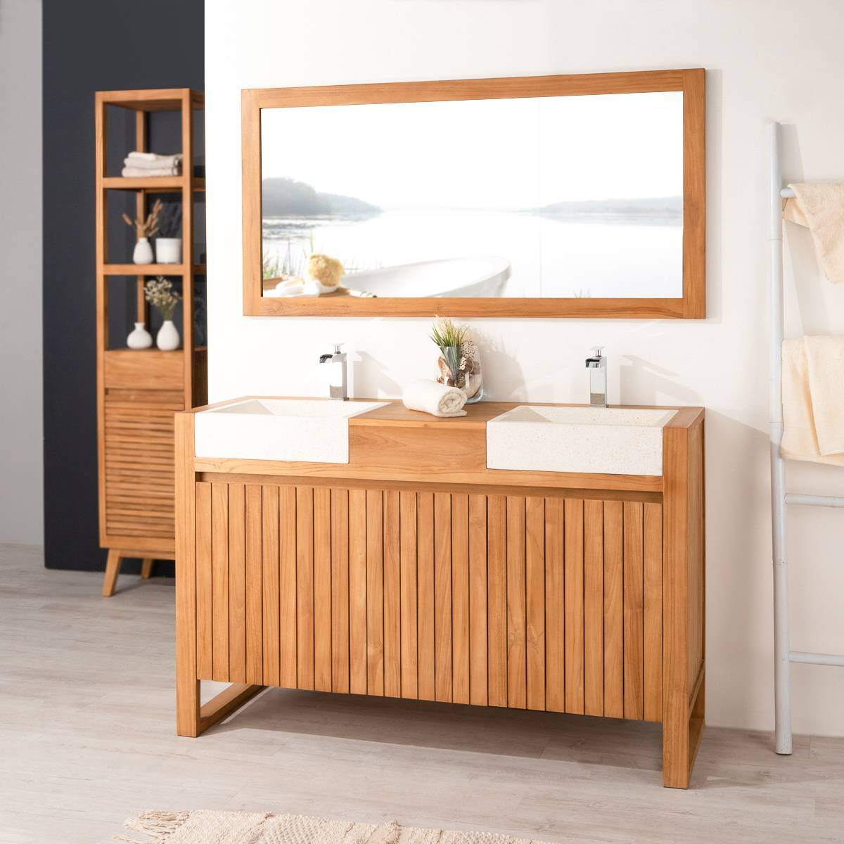 Wanda Collection Meuble en teck et vasques de salle de bain LUXE 140 crème