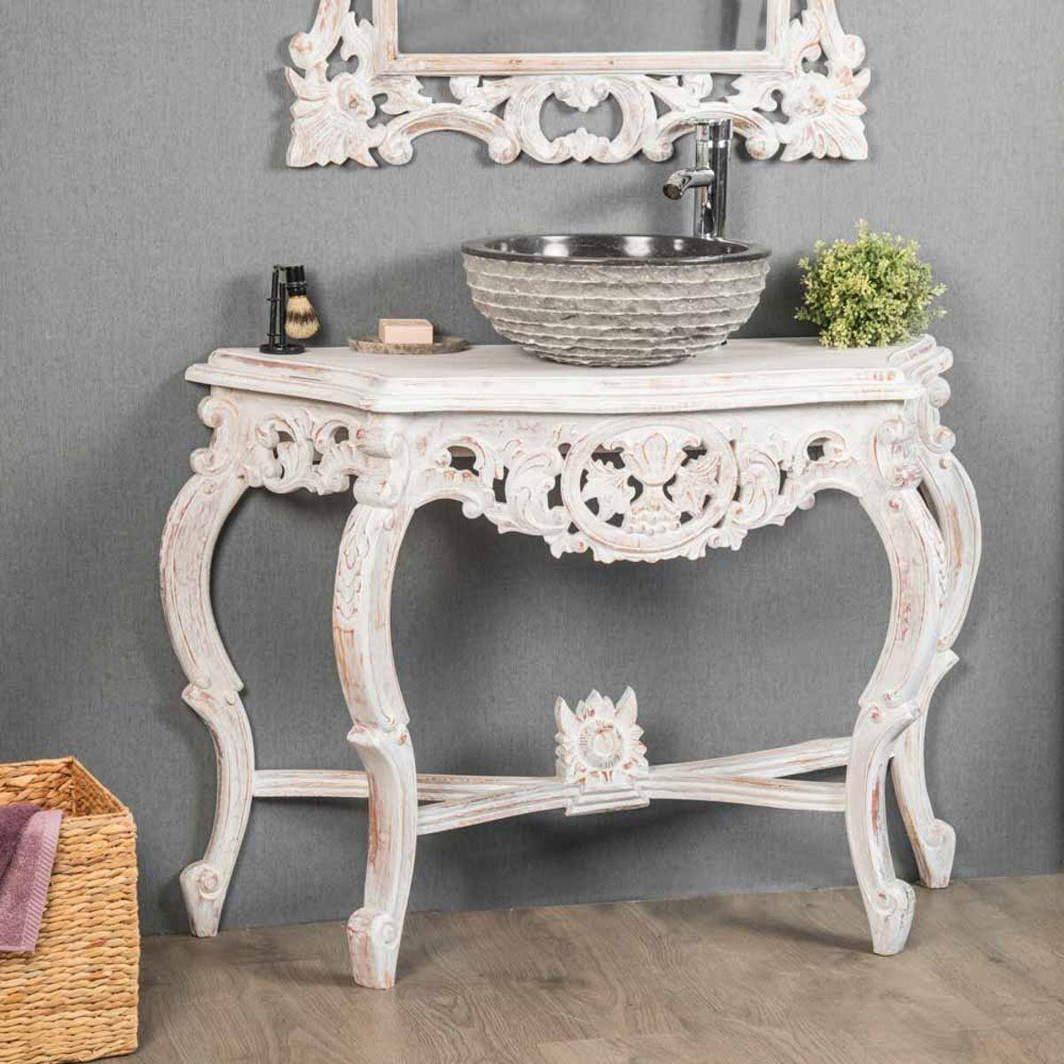 Wanda Collection Meuble salle de bain patiné blanc Baroque 100