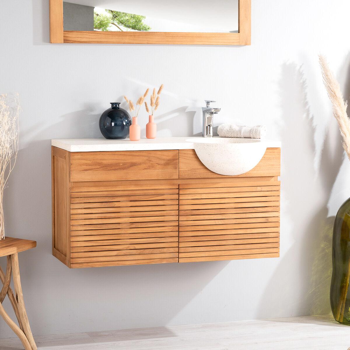Wanda Collection Meuble salle de bain suspendu avec vasque teck 100 CONTEMPORAIN crème
