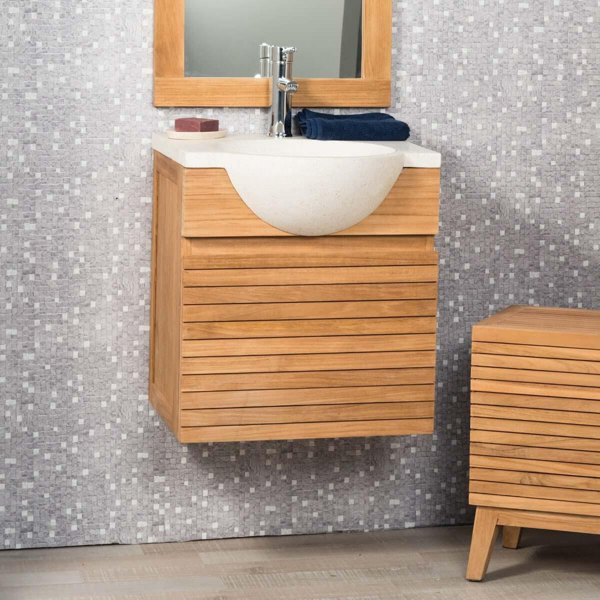 Wanda Collection Meuble salle de bain suspendu avec vasque teck 50 CONTEMPORAIN crème