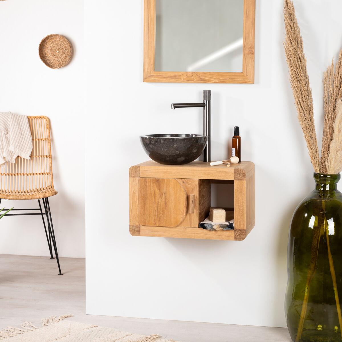 Wanda Collection Petit meuble de salle de bain suspendu 50 cm en teck massif rétro