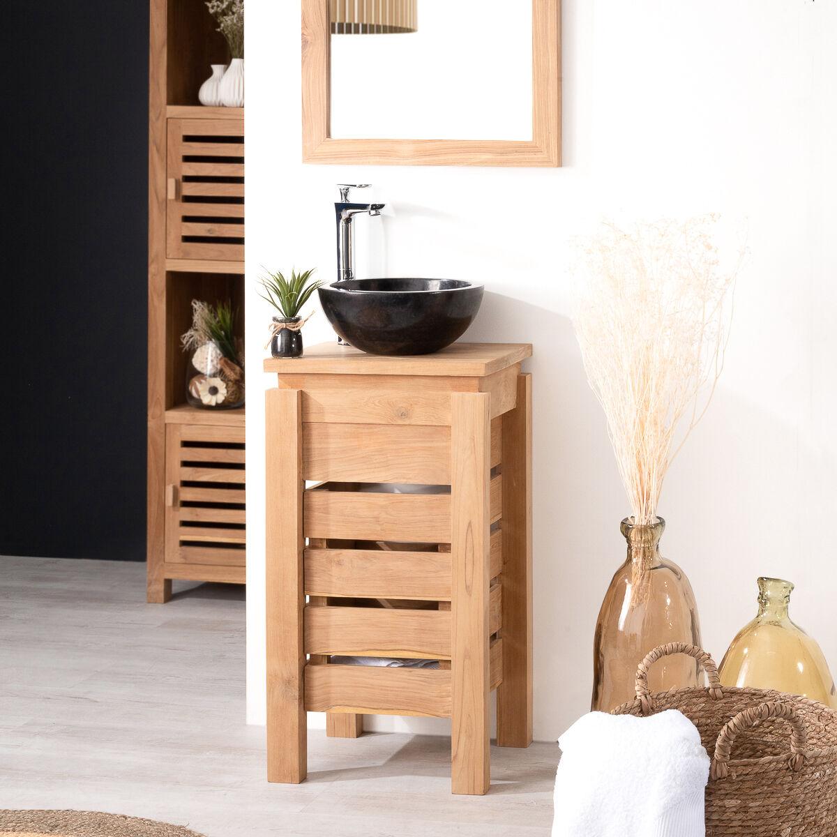 Wanda Collection Petit meuble salle de bain WC ZEN en teck 40cm