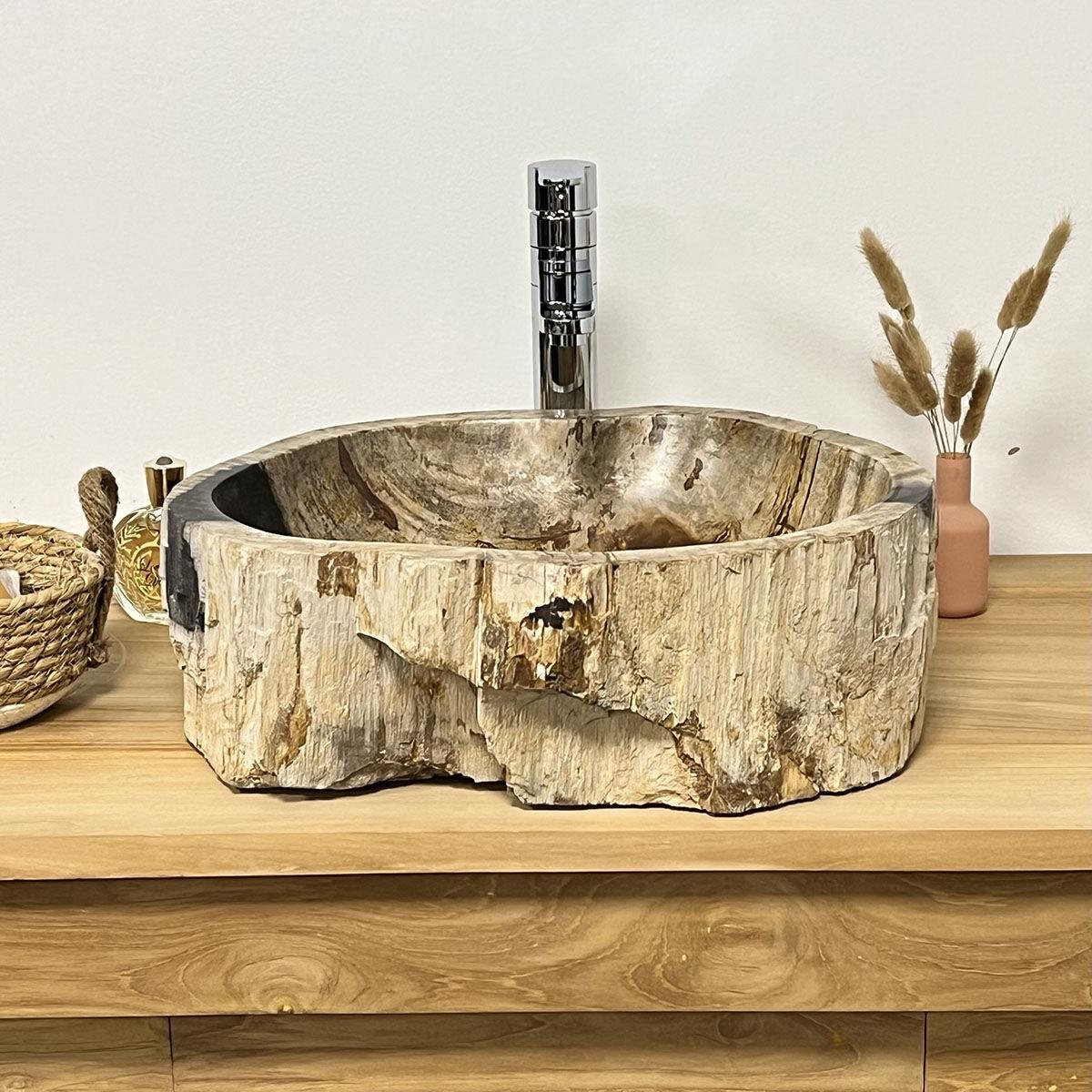 Wanda Collection Vasque de salle de bain en pierre bois pétrifié fossilisé 40 cm