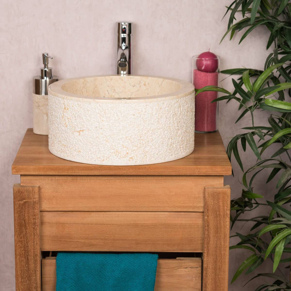 Wanda Collection Vasque lave main à poser de salle de bain en marbre ELBE crème 35