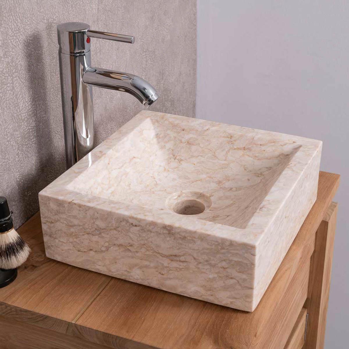 Wanda Collection Vasque salle de bain à poser ALEXANDRIE carré 30cm x 30cm crème