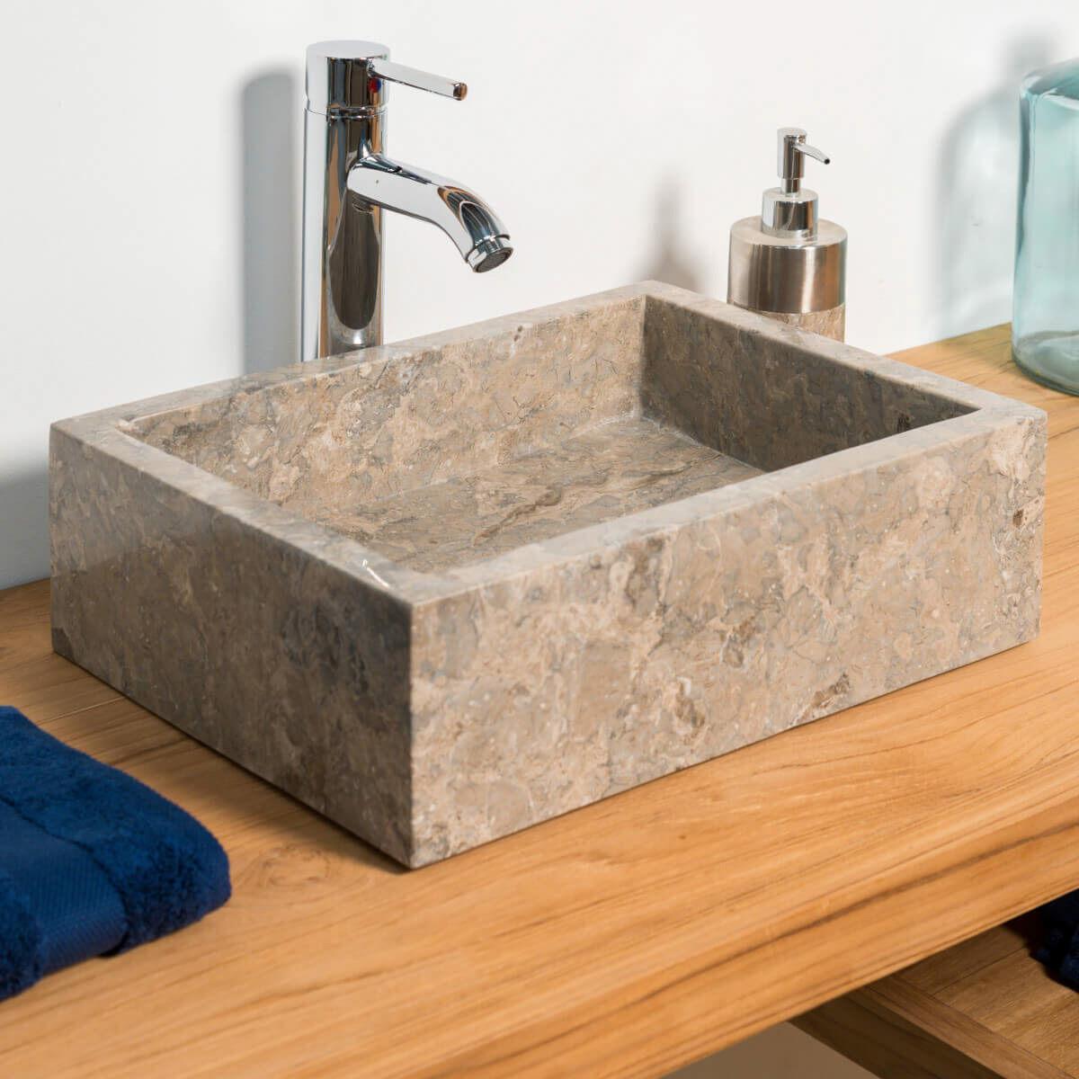 Wanda Collection Vasque salle de bain à poser MILAN rectangle 30cm x 40cm gris taupe