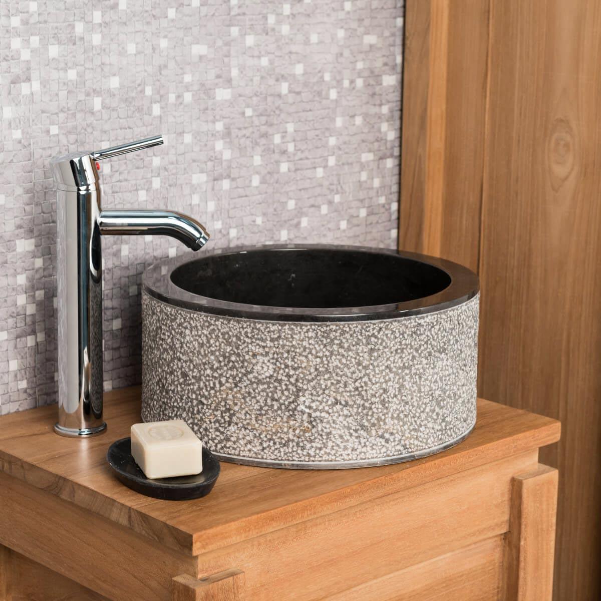 Wanda Collection Vasque salle de bain en marbre ELBE noir 35cm