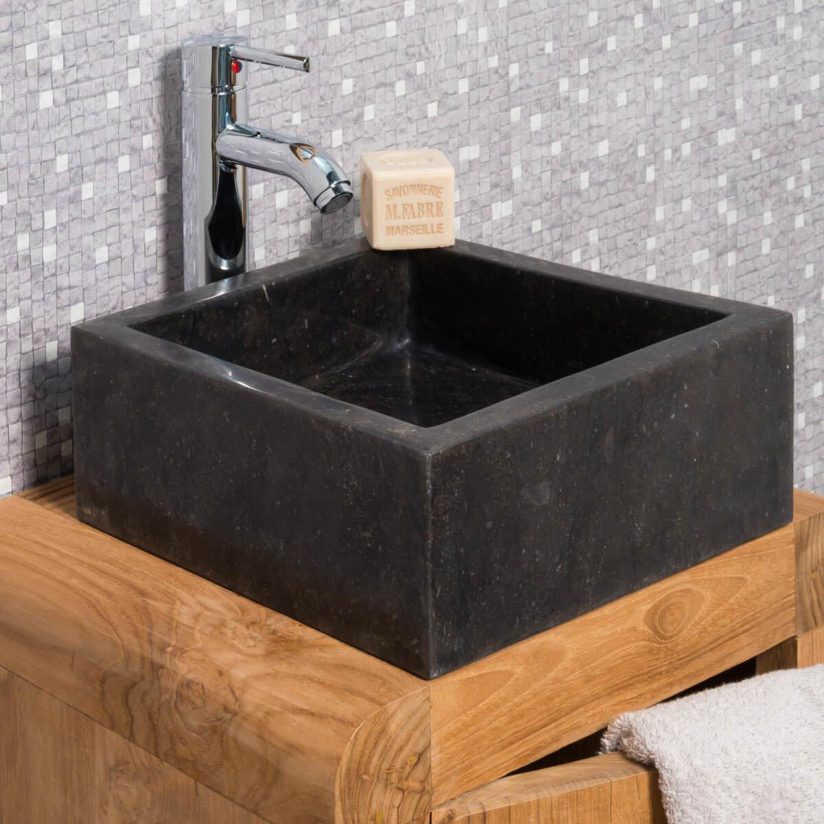 Wanda Collection Vasque salle de bain en marbre MILAN noir 30cm