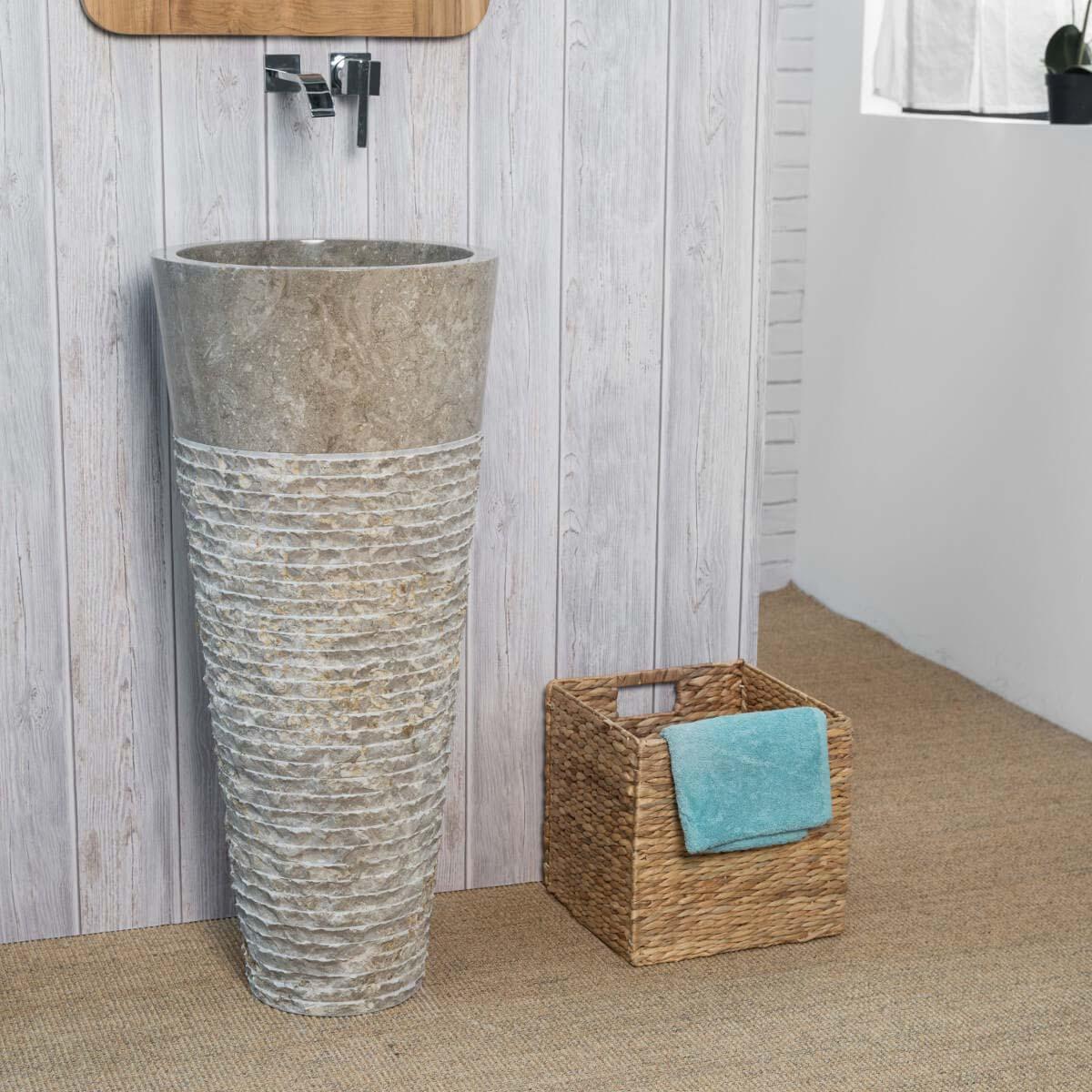 Wanda Collection Vasque salle de bain sur pied en marbre FLORENCE gris