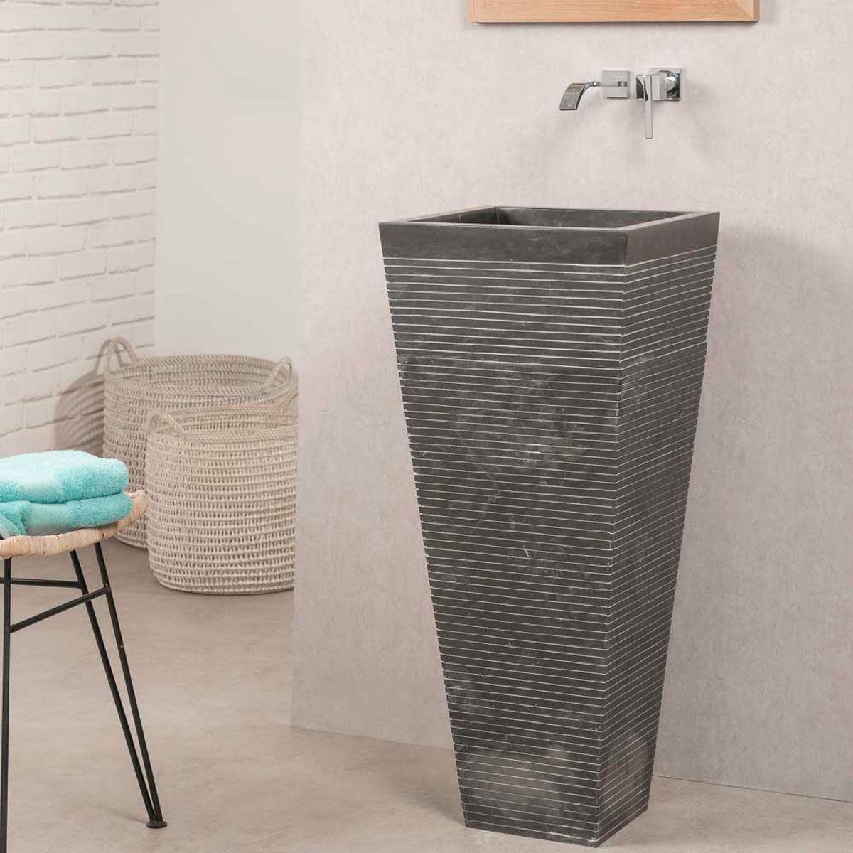 Wanda Collection Vasque salle de bain sur pied en pierre carré GUIZEH noir