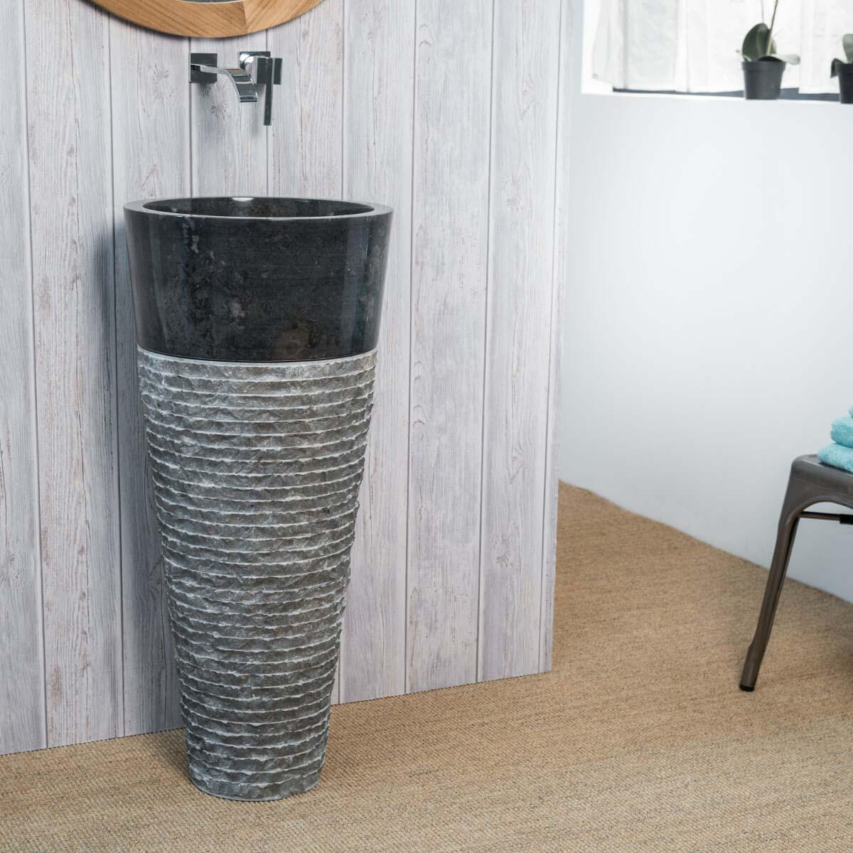 Wanda Collection Vasque salle de bain sur pied en pierre FLORENCE noir