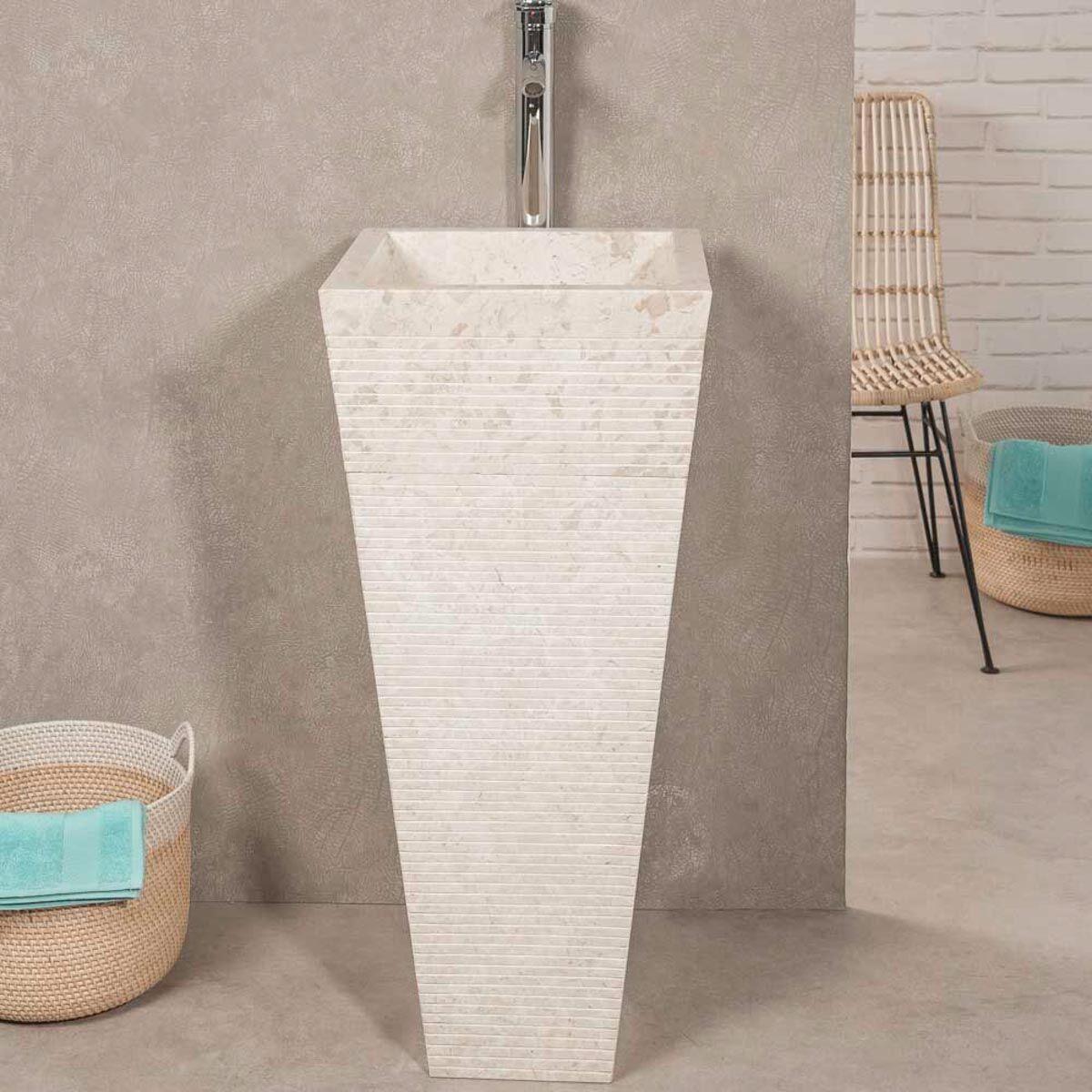 Wanda Collection Vasque salle de bain sur pied en pierre pyramide GUIZEH crème