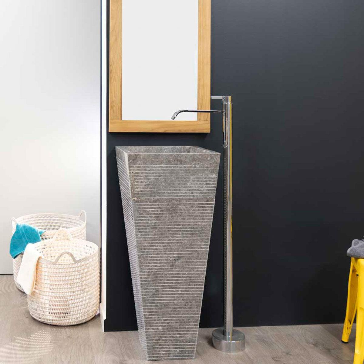Wanda Collection Vasque salle de bain sur pied en pierre pyramide GUIZEH gris