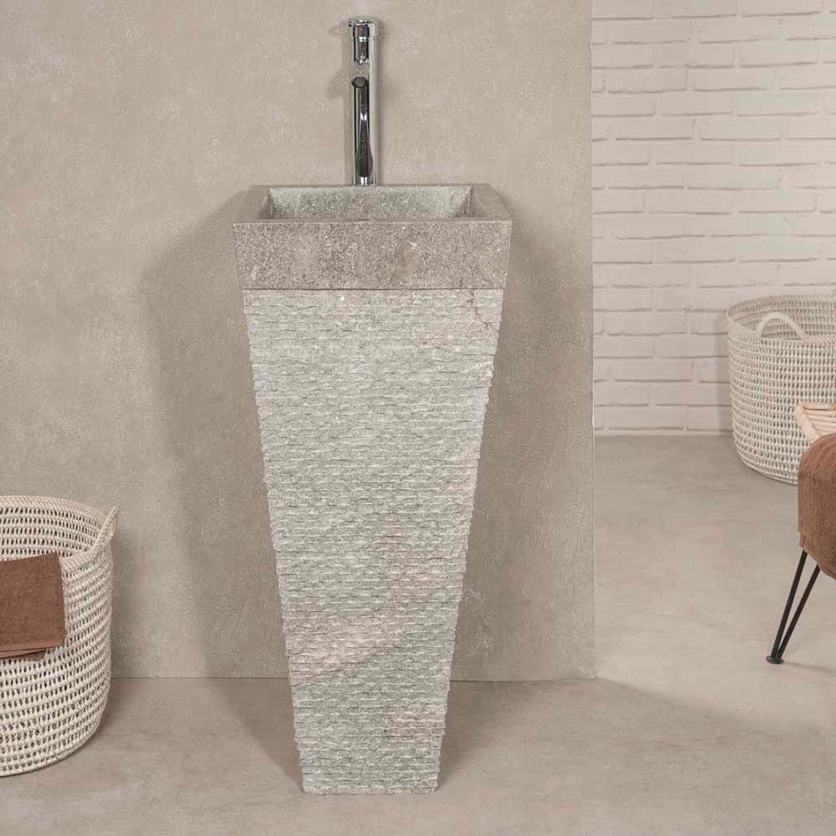 Wanda Collection Vasque salle de bain sur pied en pierre pyramide havana gris