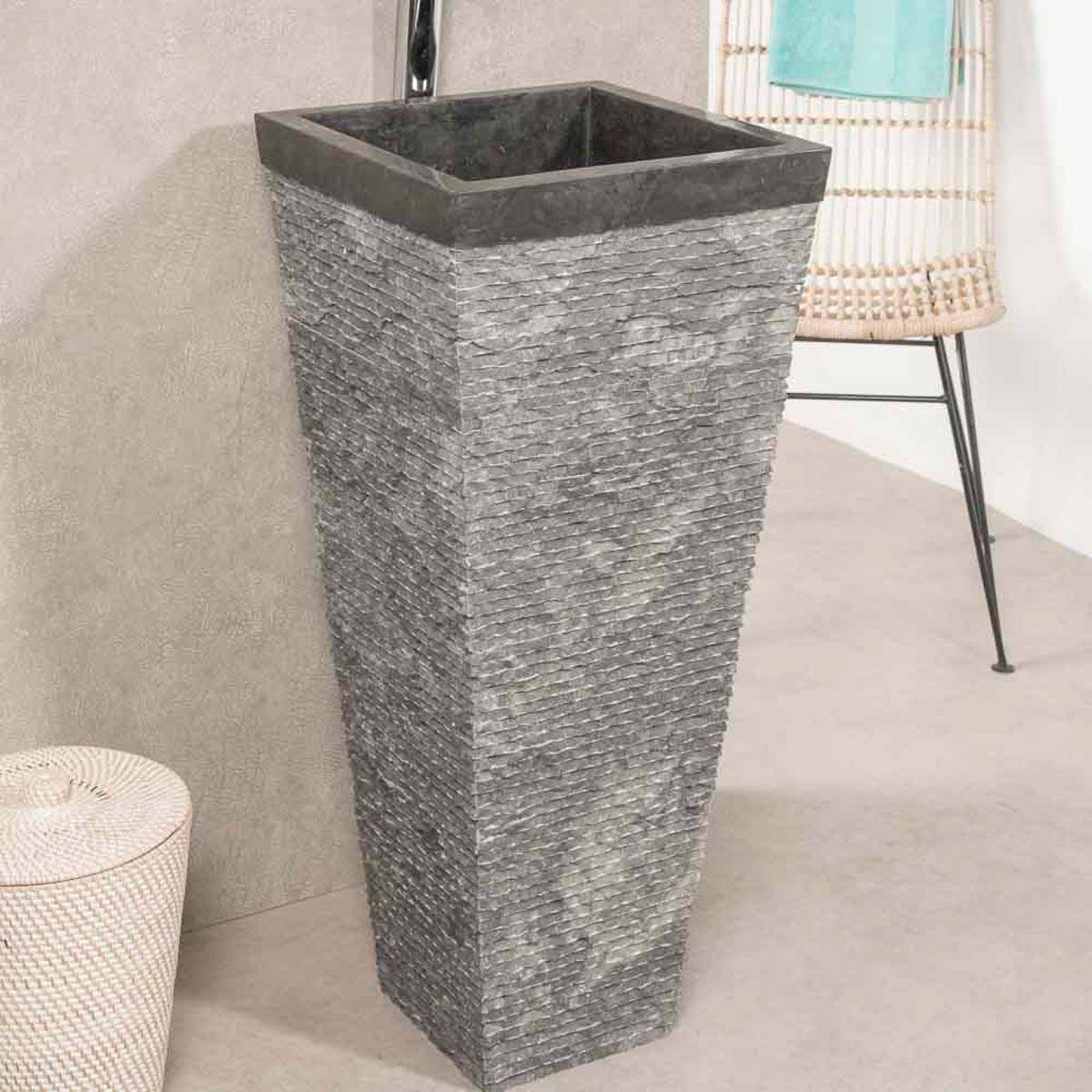 Wanda Collection Vasque salle de bain sur pied en pierre pyramide havana noir