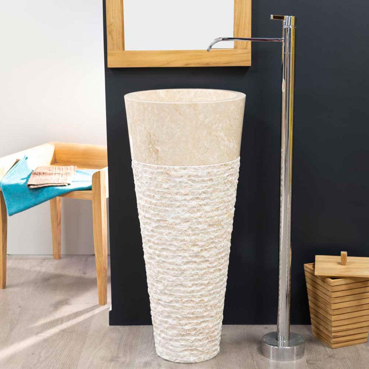 Wanda Collection Vasque sur pied conique en marbre FLORENCE crème