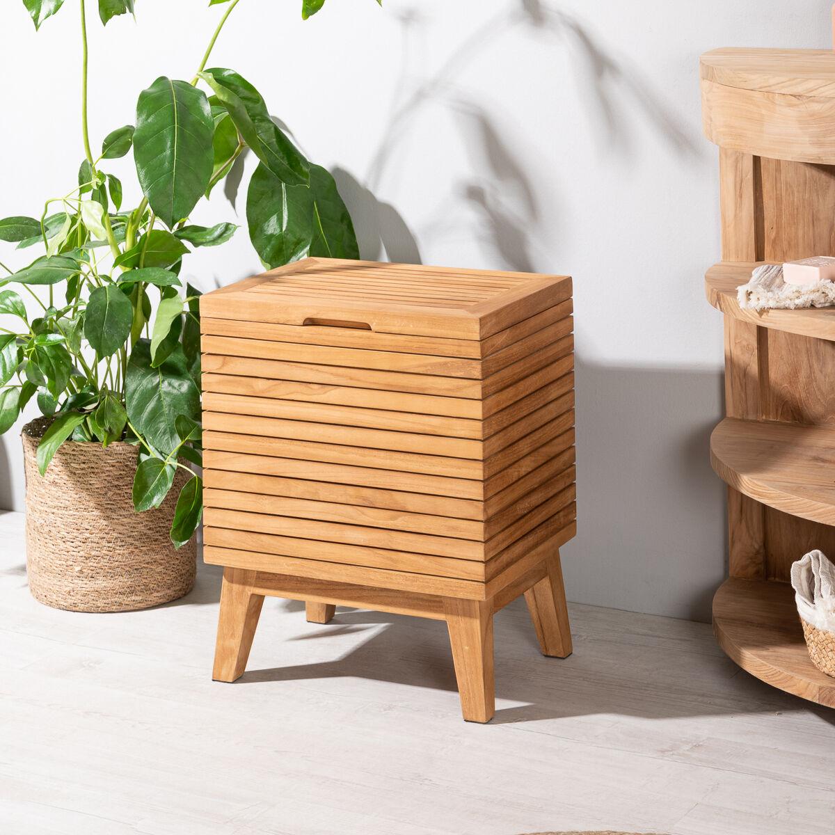 Wanda Collection Bac à linge en teck salle de bain