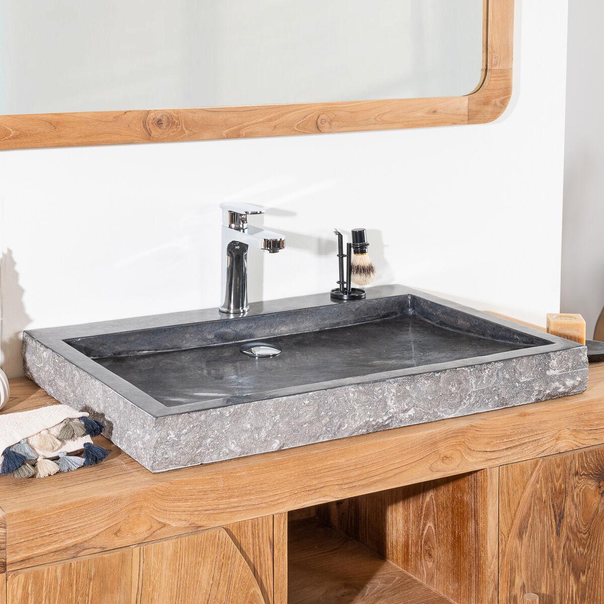 Wanda Collection Grande Vasque 70cm à poser rectangle en pierre marbre COSY noir