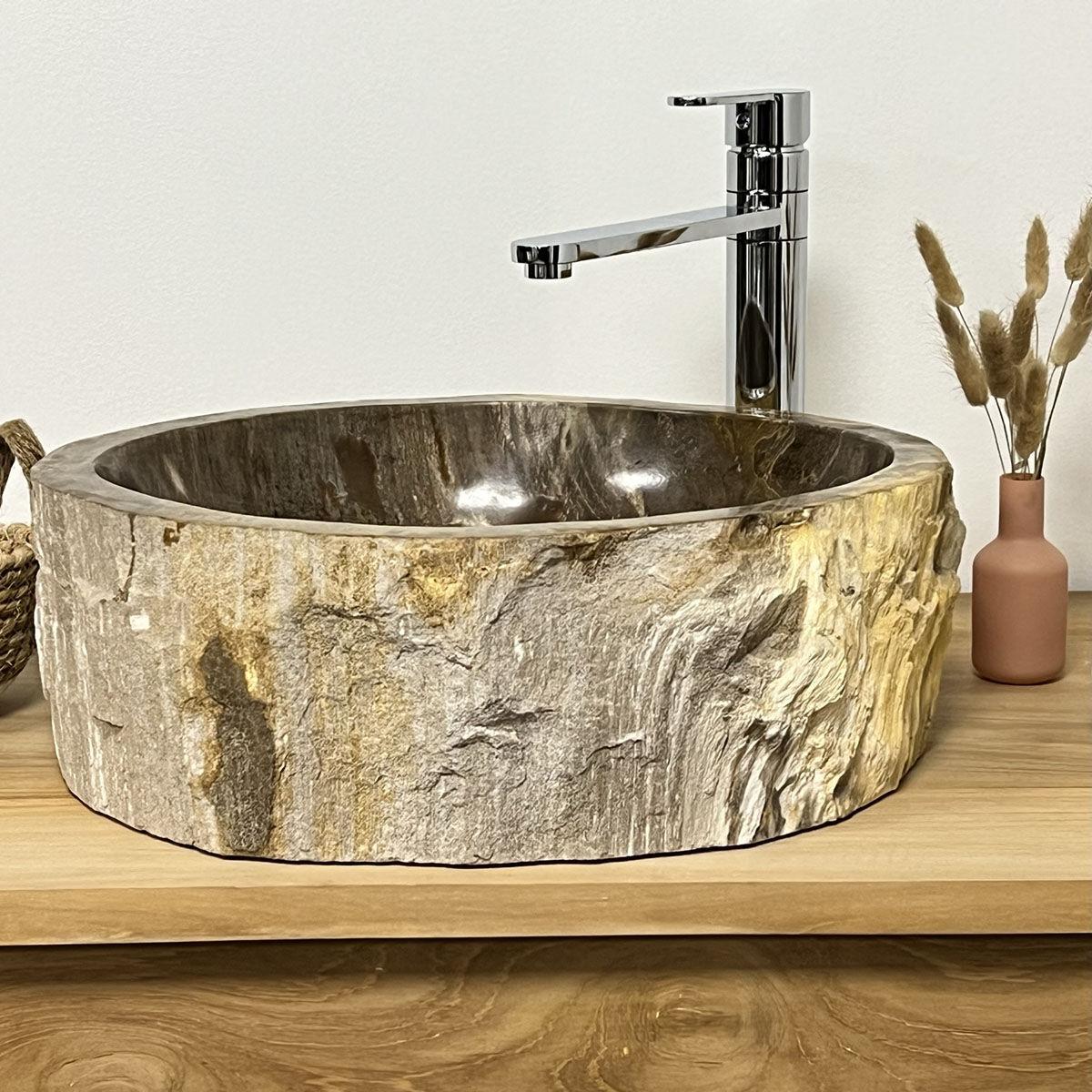 Wanda Collection Grande vasque à poser en bois pétrifié 40 cm