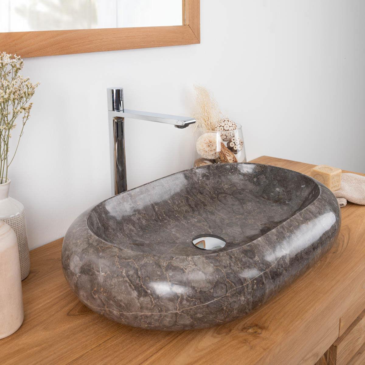 Wanda Collection Grande vasque en marbre à poser murano 60x40 gris