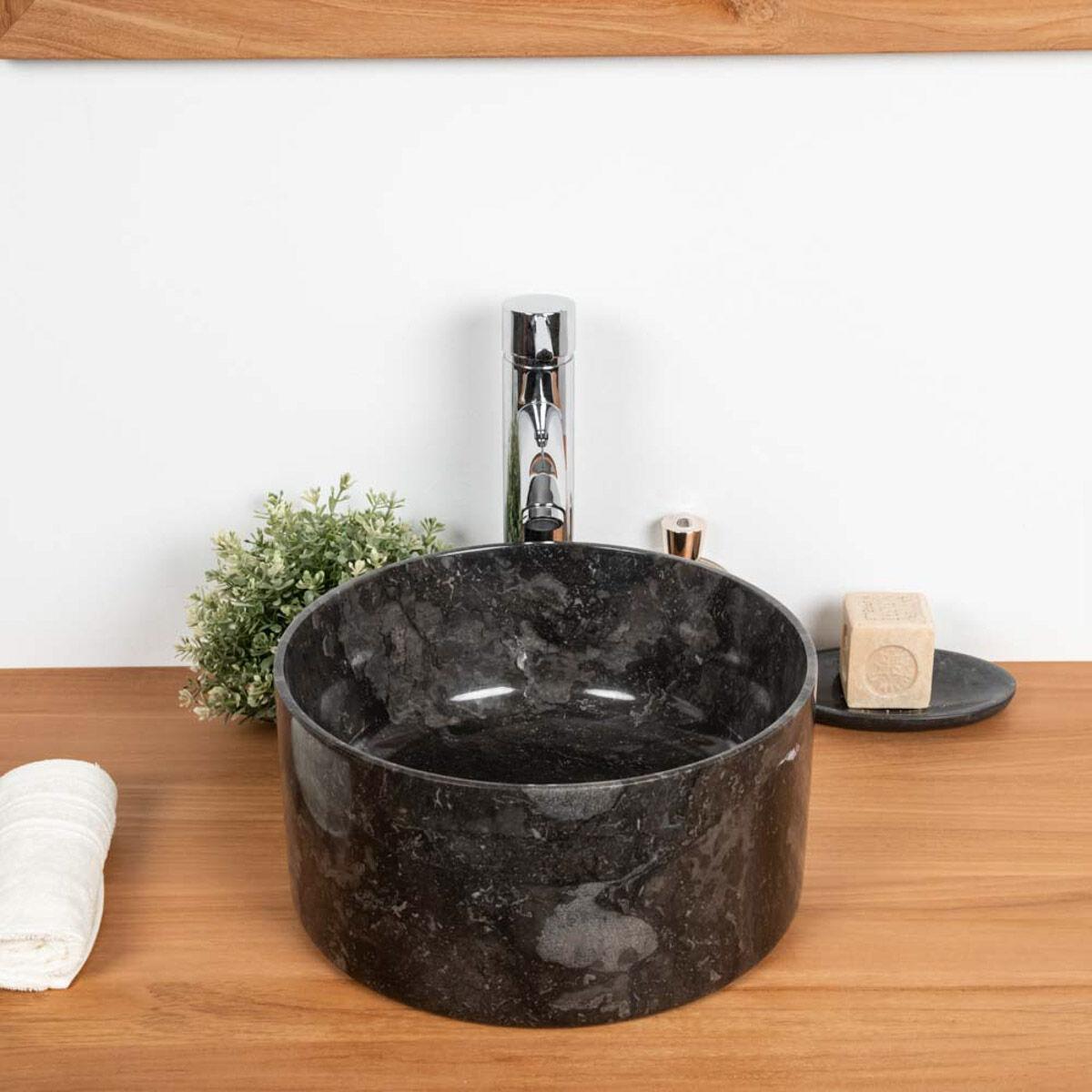 Wanda Collection Lavabo en marbre salle de bain Ulysse 30 cm noir