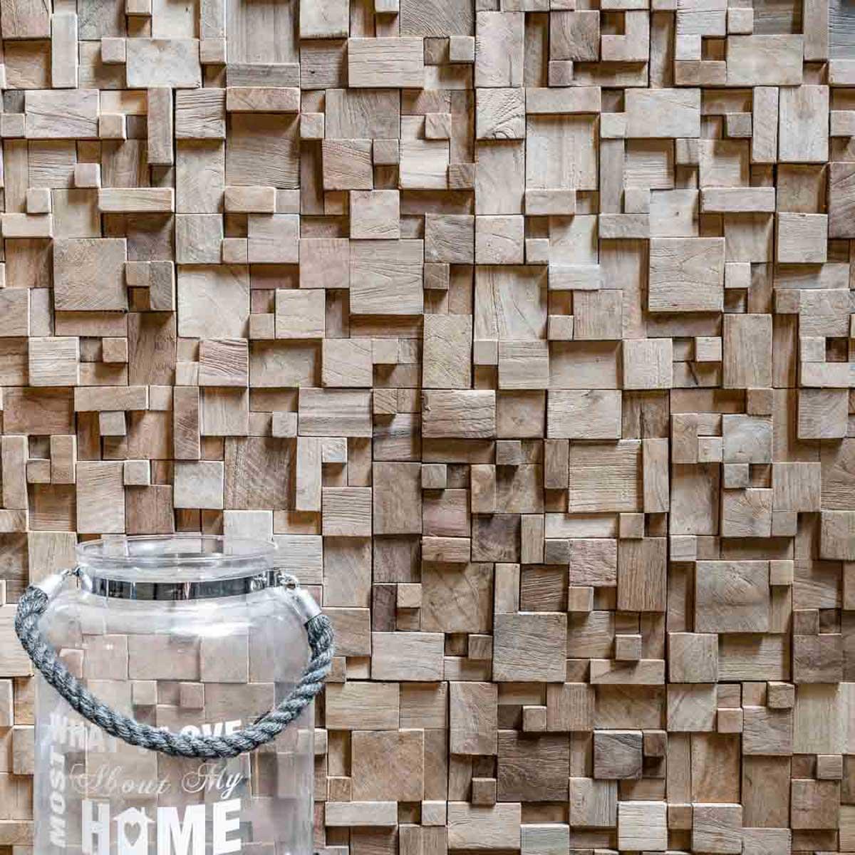 Wanda Collection Parement mosaïque en teck recyclé naturel carré irrégulier 30cm x30cm