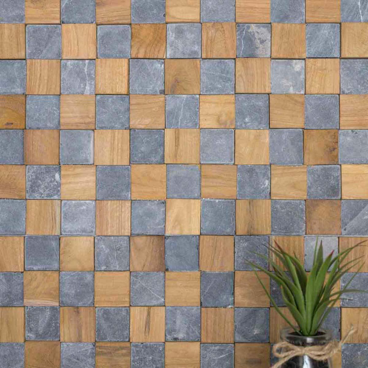 Wanda Collection Parement mural carrés pierre et teck gris 55x20 cm