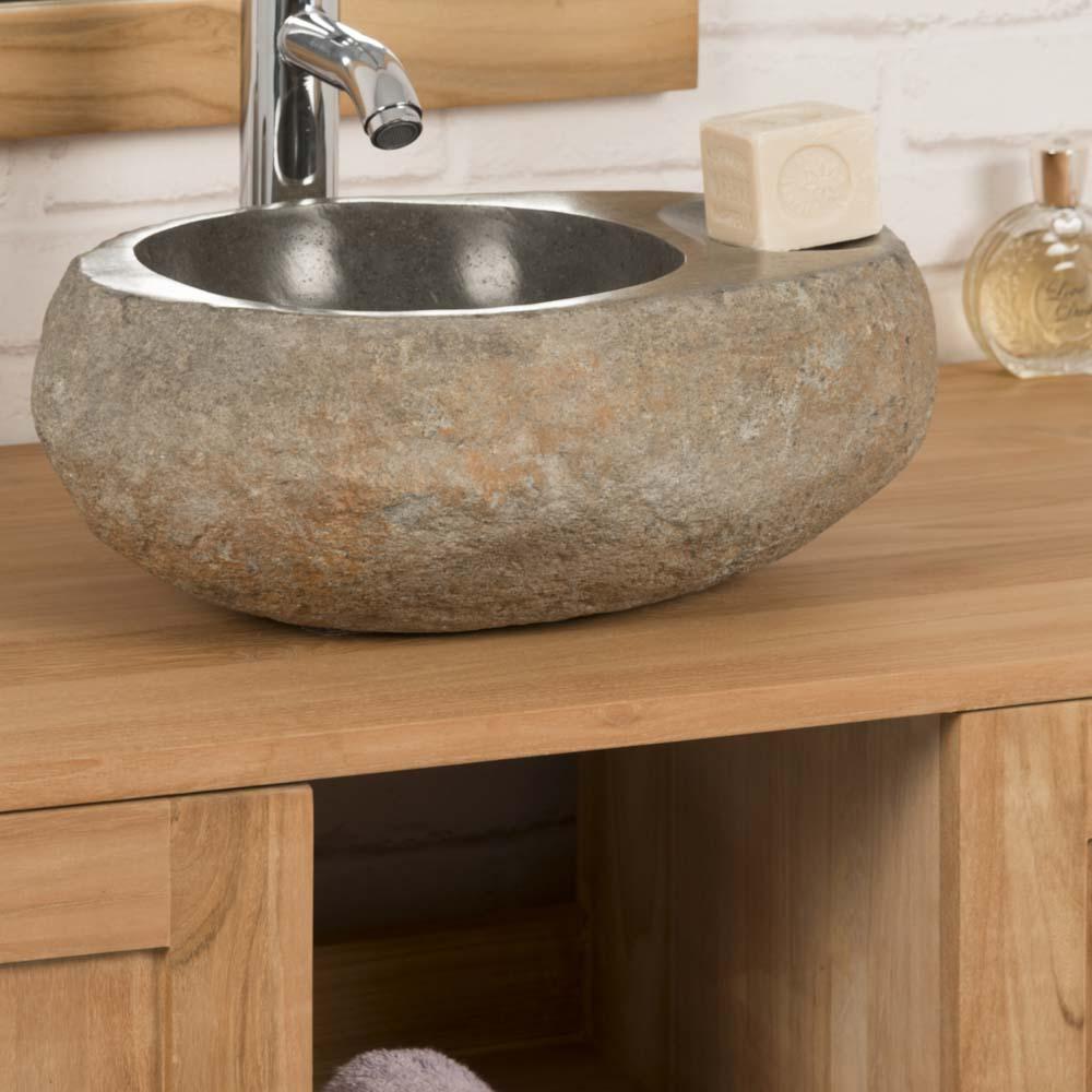 Wanda Collection Vasque à poser en galet de riviere 35 cm porte savon