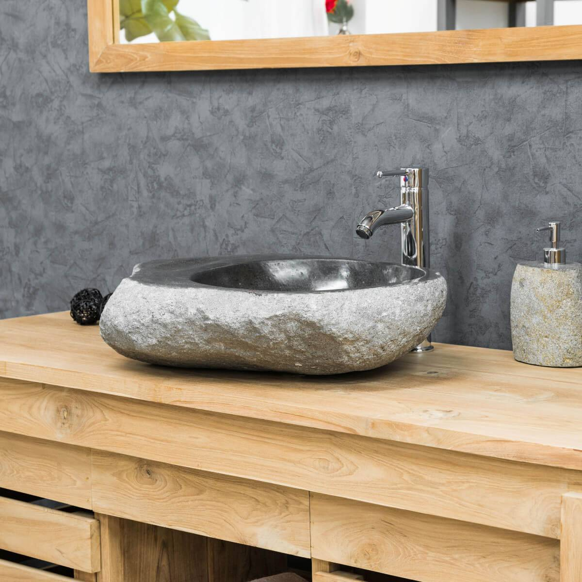 Wanda Collection Vasque à poser en galet de riviere 40-45 cm porte savon