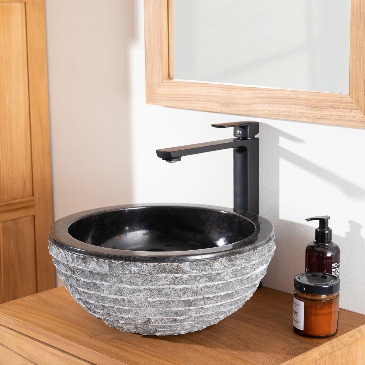 Wanda Collection Vasque à poser en pierre marbre vesuve noir 35cm