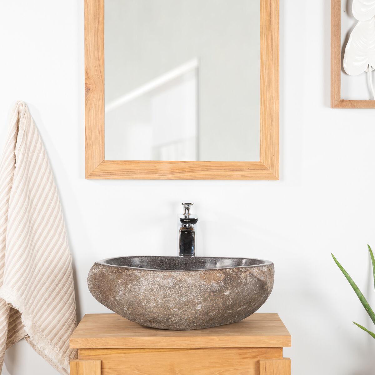 Wanda Collection Vasque à poser en pierre naturelle salle de bain GALET 30 cm
